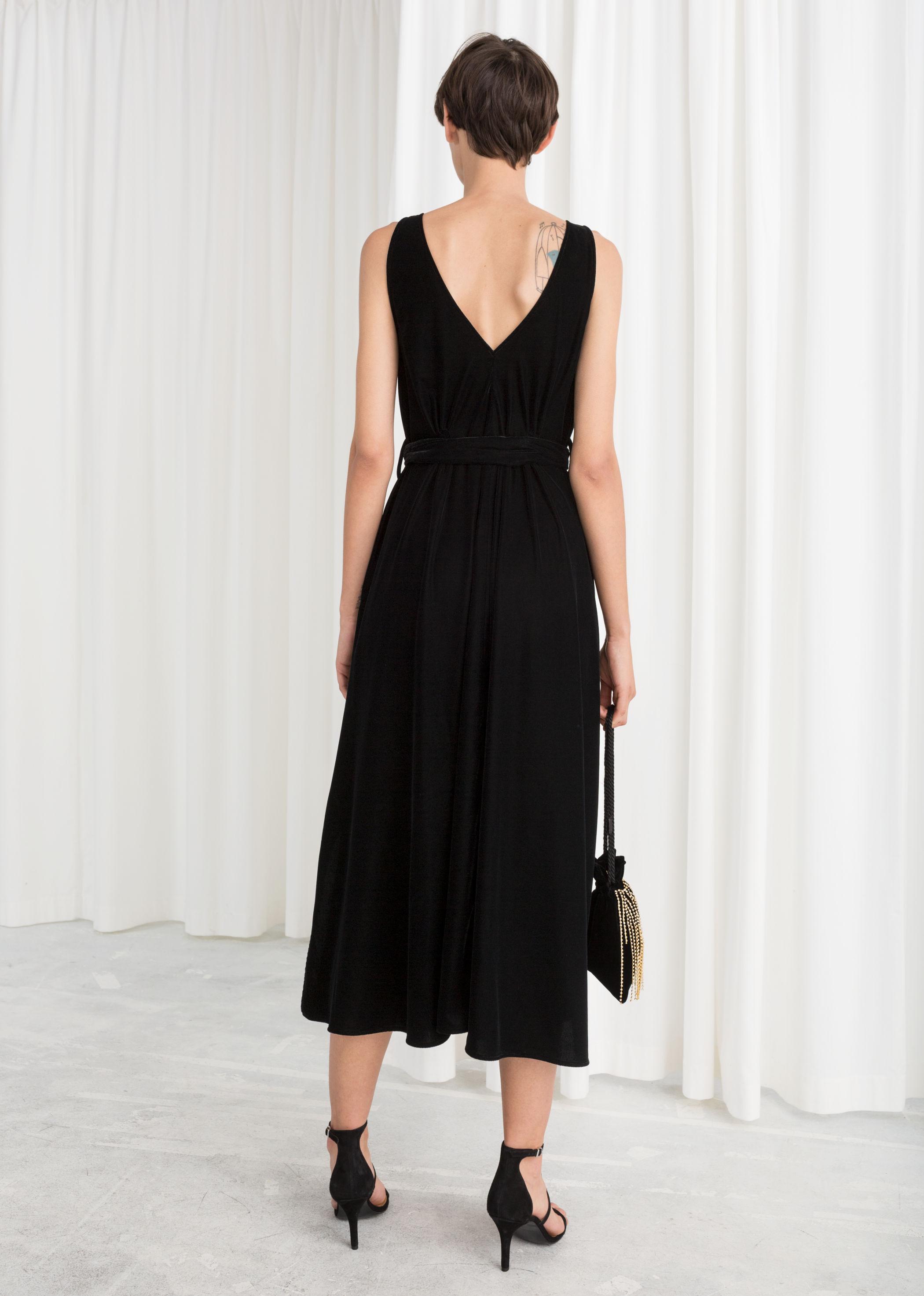 Belted Velvet Midi Dress Endource