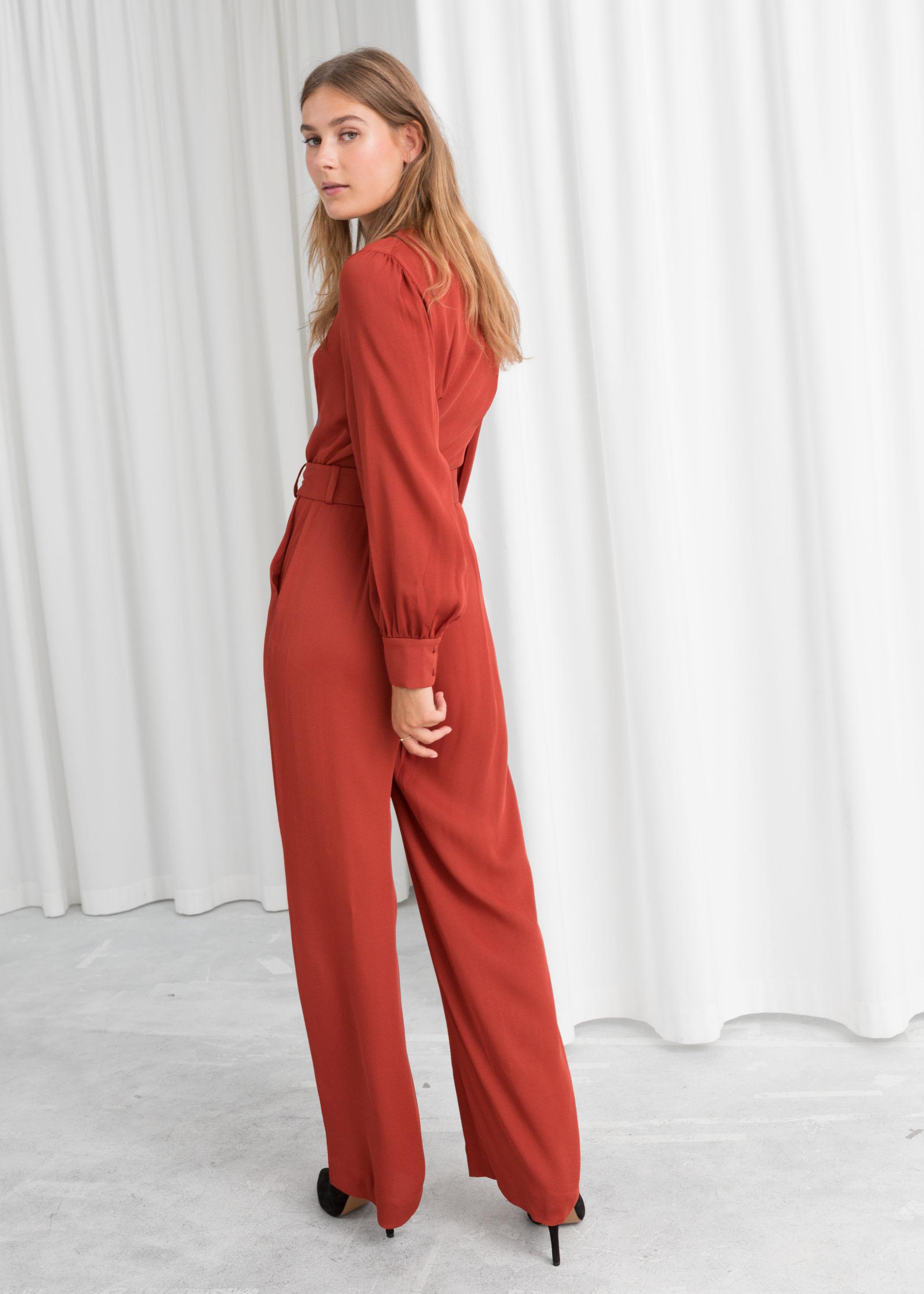 online shop quality first 2019 original Belted V-Neck Jumpsuit