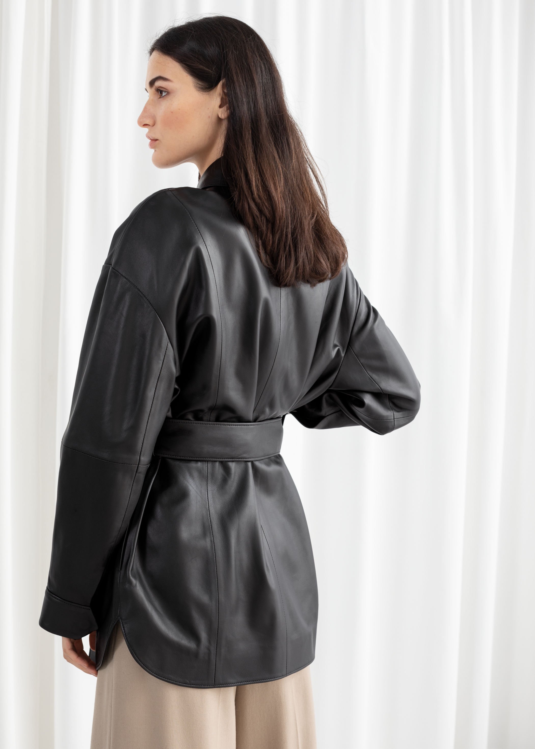 fdb0a88dcc65 Oversized Belted Leather Jacket | Endource