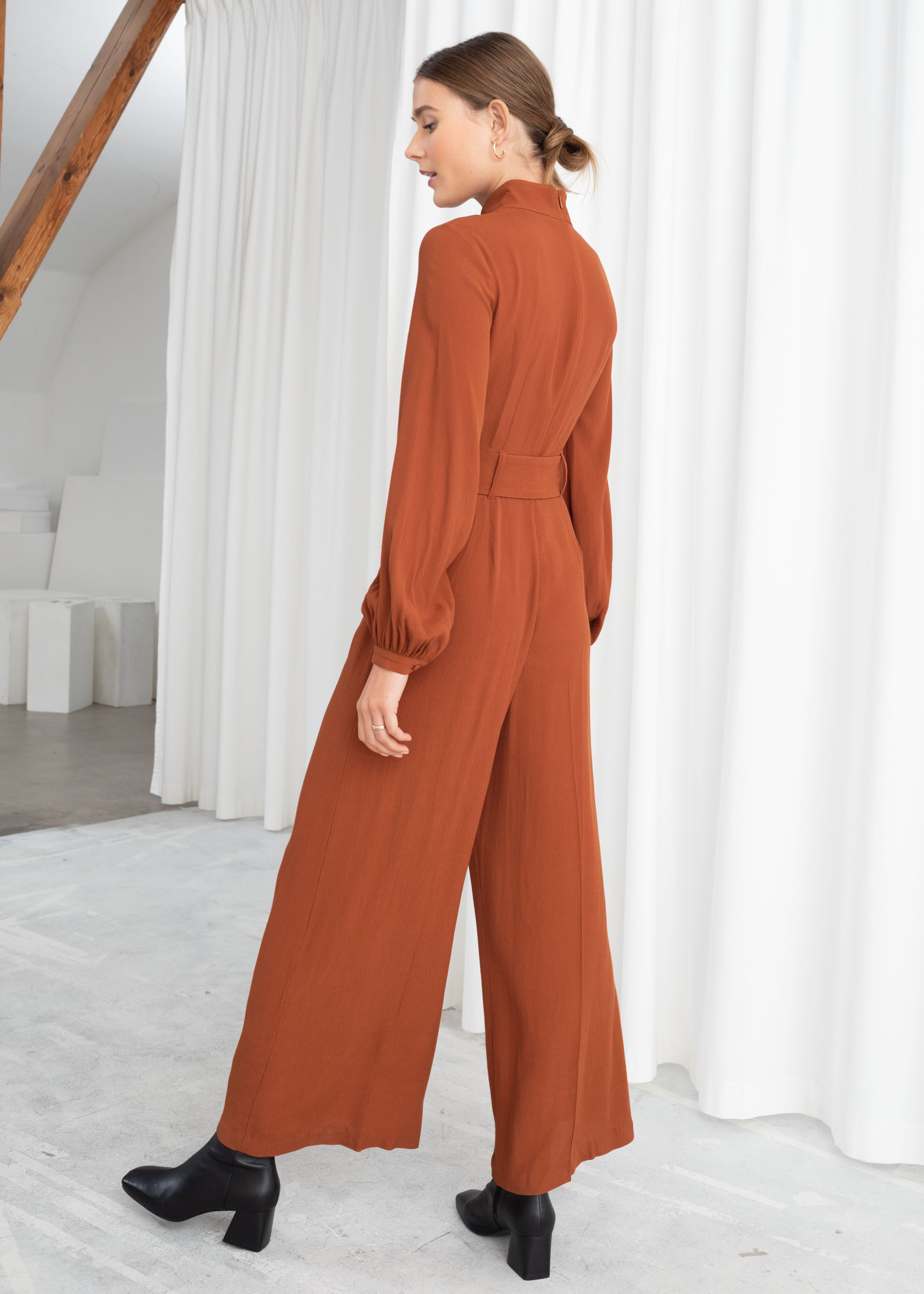 novel style 100% top quality reasonable price Long Sleeve Belted Jumpsuit