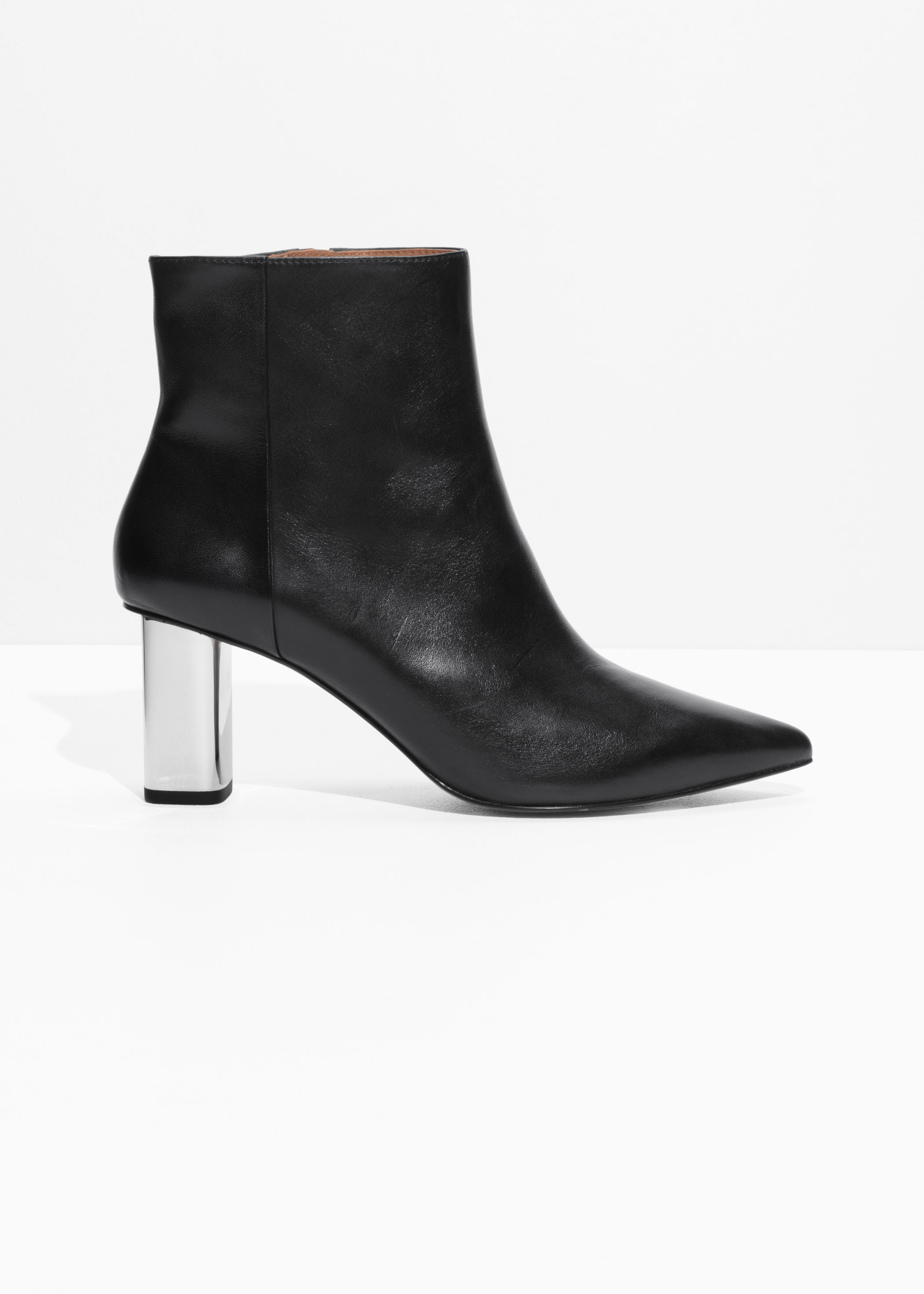 Metal Heel Leather Ankle Boots