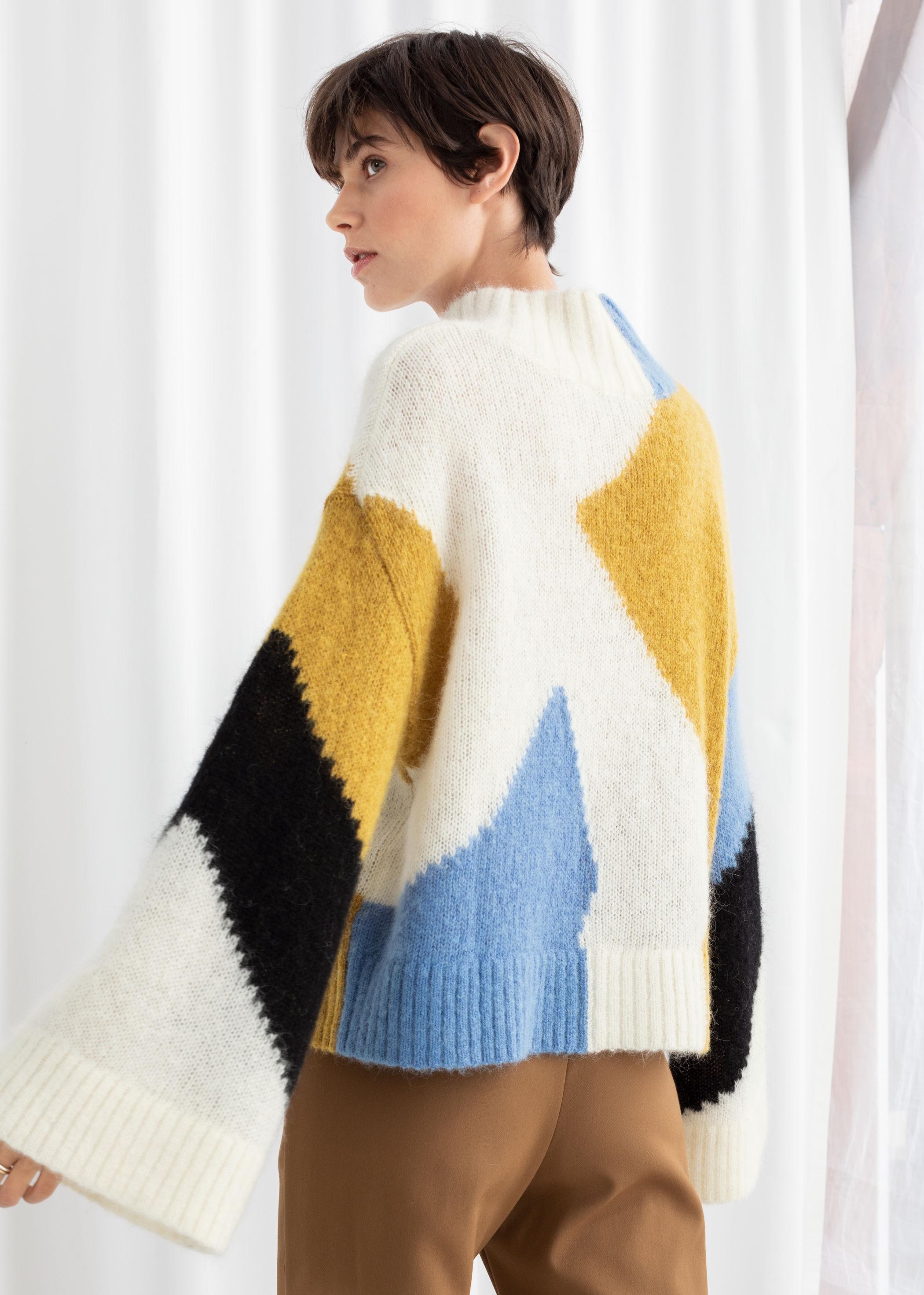 Colour Block Mock Neck Sweater