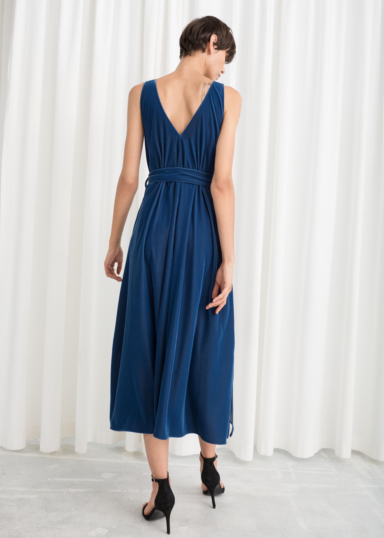 bd70982a4855 Belted Velvet Midi Dress   Endource