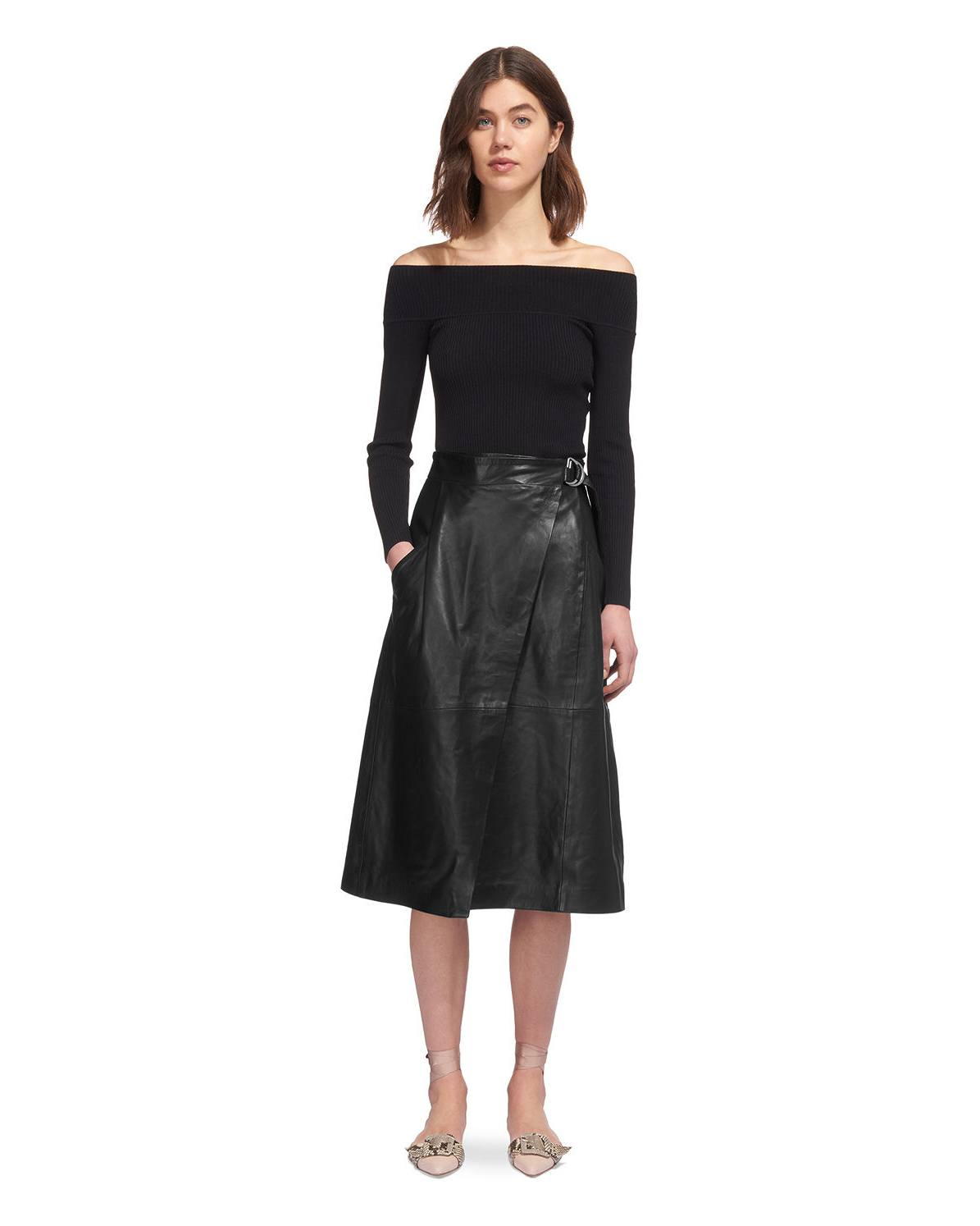 usa cheap sale reasonably priced nice shoes Wrap Leather Midi Skirt | Endource