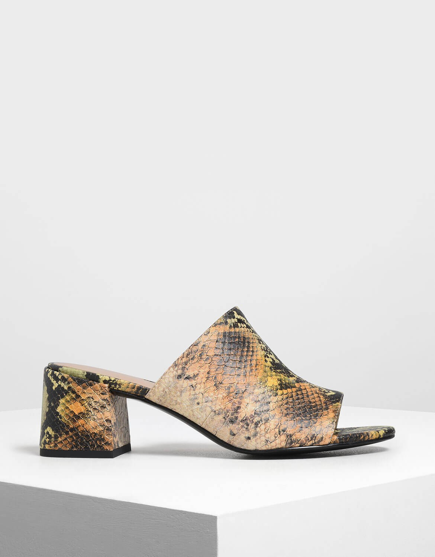 enjoy discount price 50% price nice cheap Snake Print Block Heel Slide Sandals