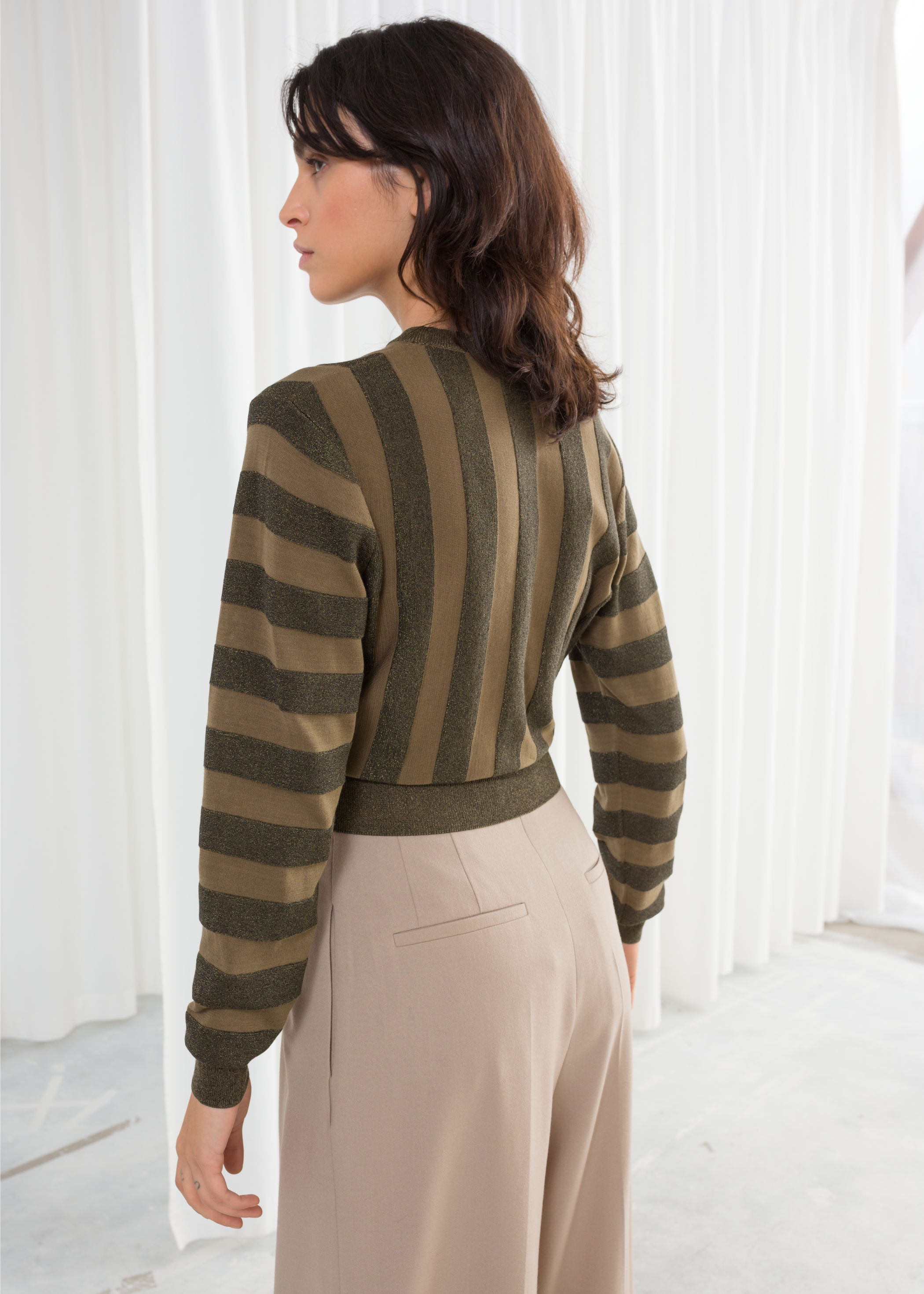 Cropped Glitter Striped Sweater