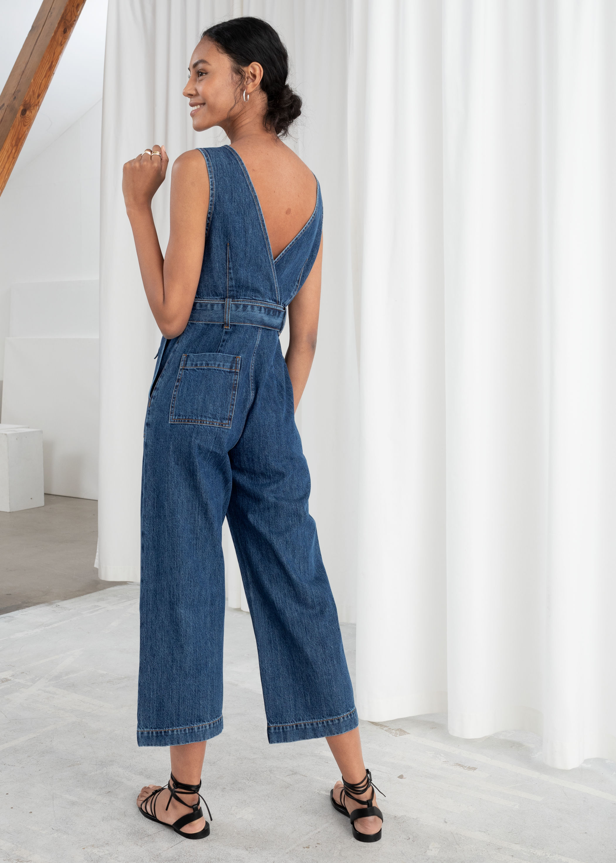 online for sale wide selection of designs cheap Belted Denim Jumpsuit