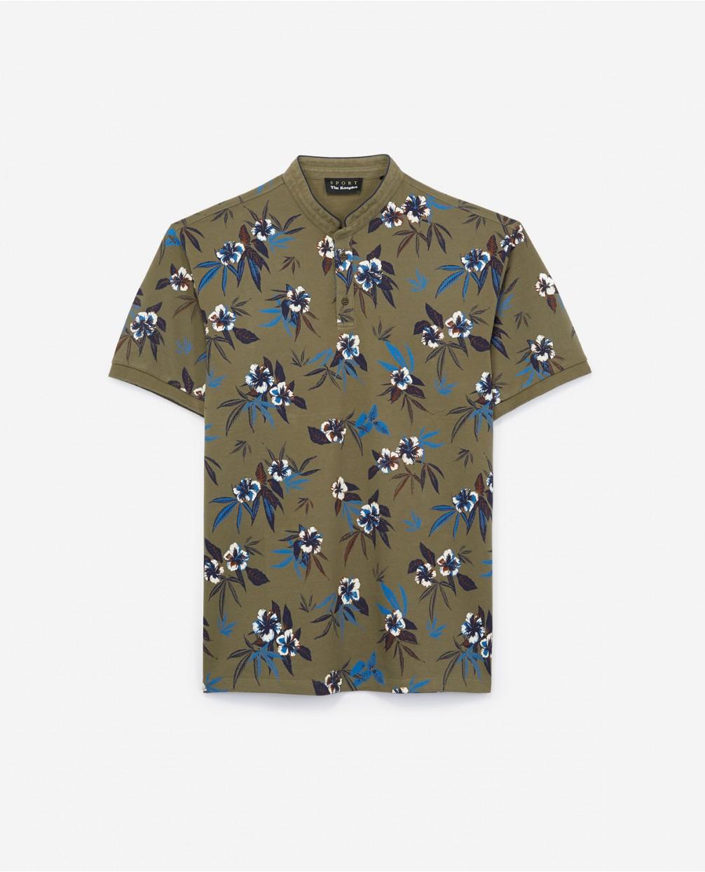 ca4e2747b7 Collarless cotton piqué polo shirt with floral print