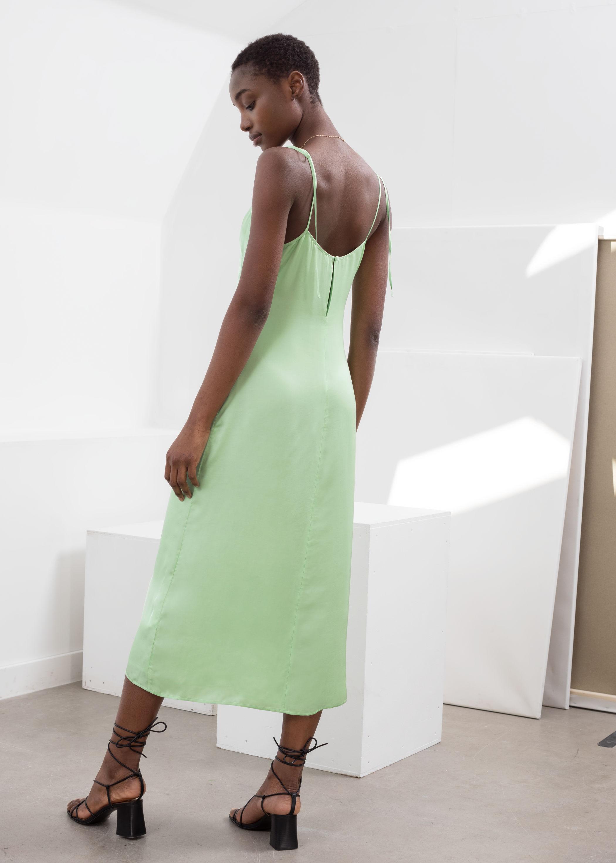 official photos hot sale online first look Shoulder Tie Midi Slip Dress   Endource