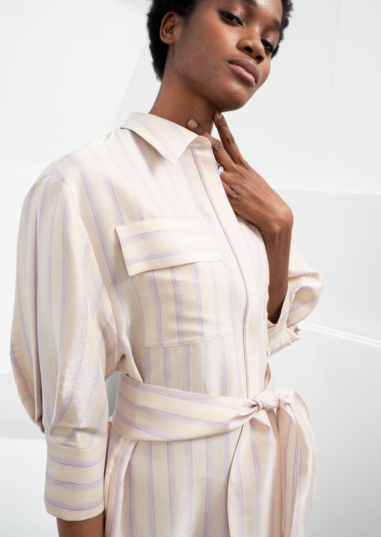 5d5b16853aef1 Striped Puff Sleeve Midi Dress | Endource
