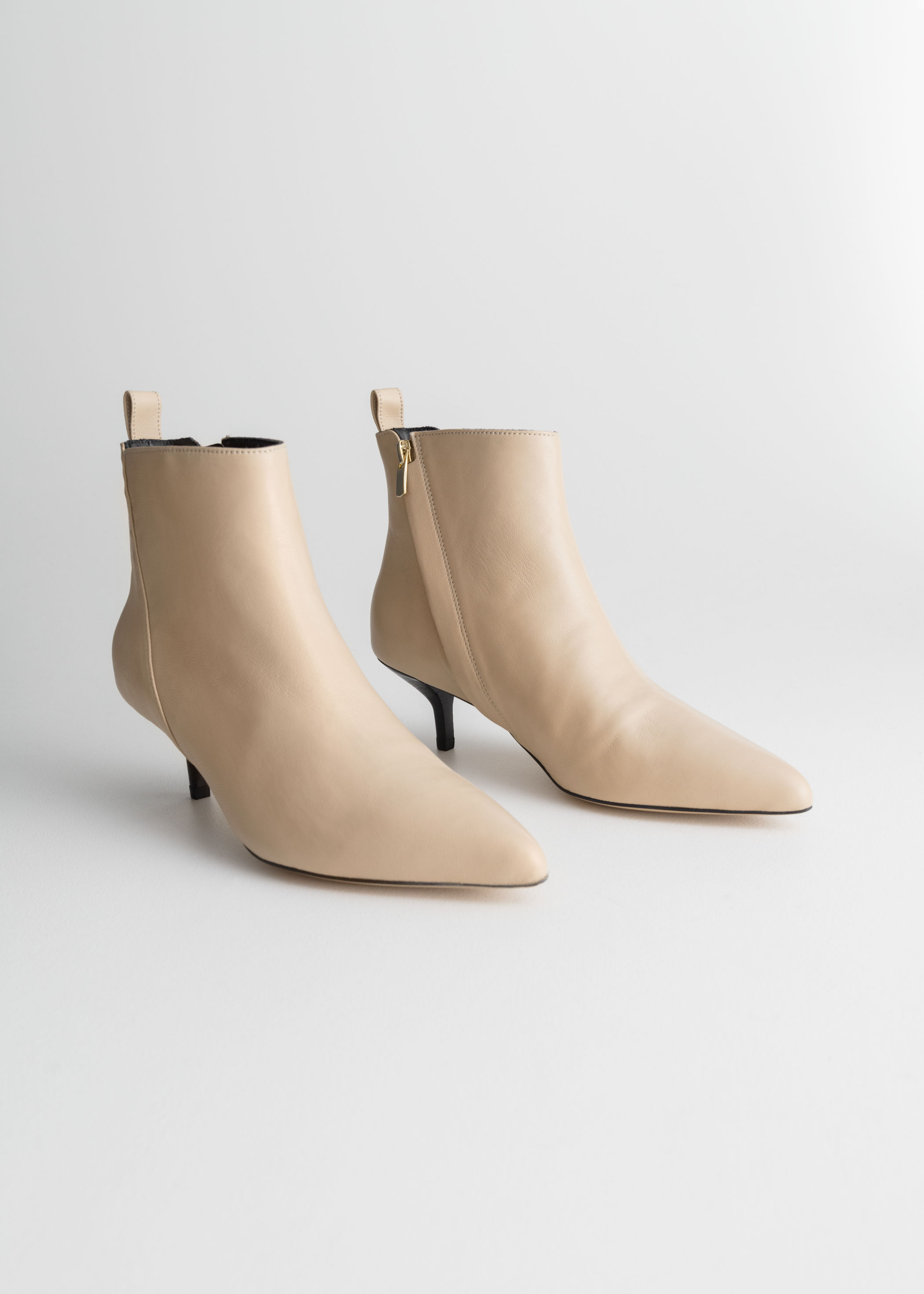 genuine shoes exquisite design new high quality Leather Kitten Heel Boots | Endource