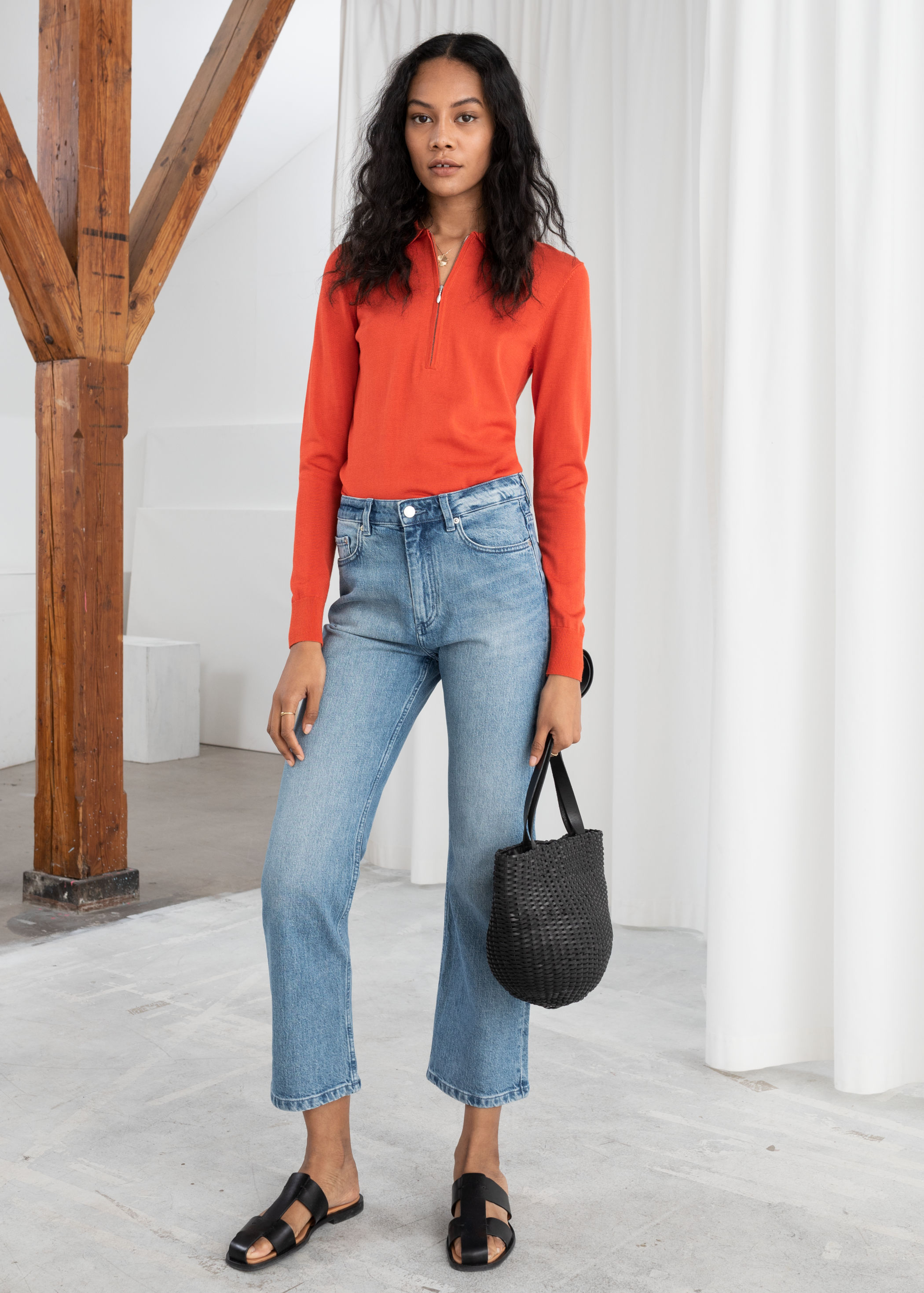 hot sale online well known new style of 2019 High Cropped Kick Flare Jeans